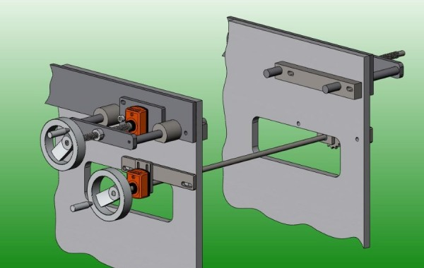 3D design of Center Adjusting Conveyor Guide Rails